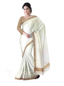 KASAVU OFF WHITE, BROWN, GOLD COTTON SAREE