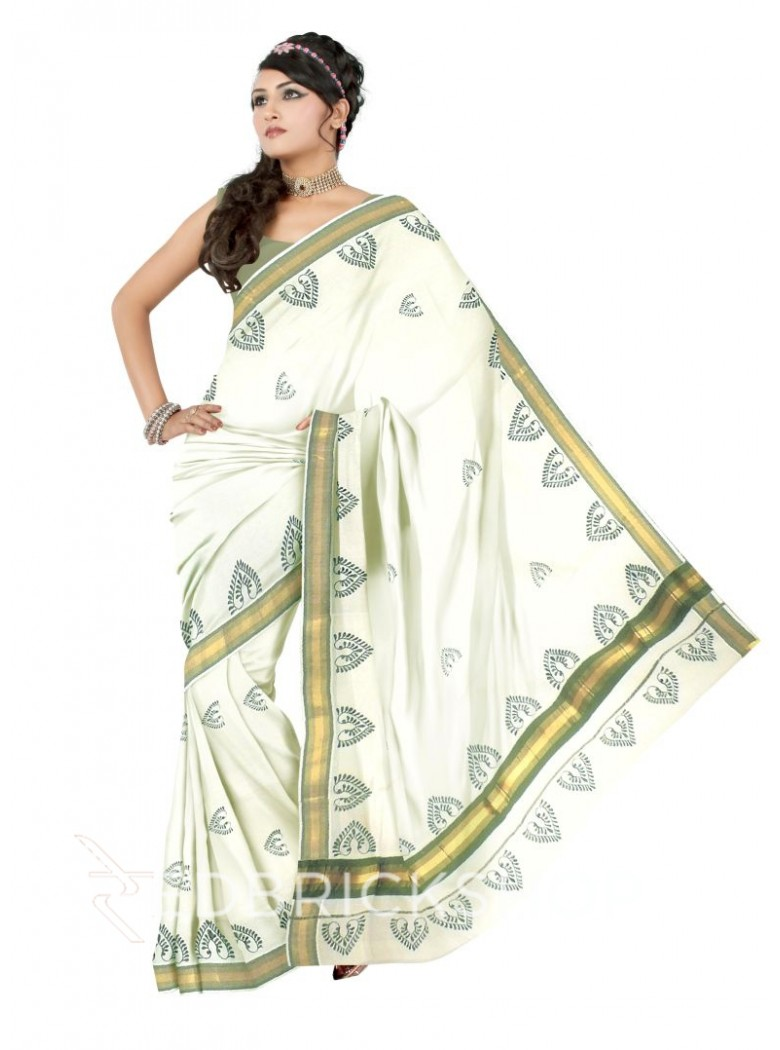 KASAVU BLOCK PRINT, OFF WHITE, MEHENDI GREEN, GOLD COTTON SAREE