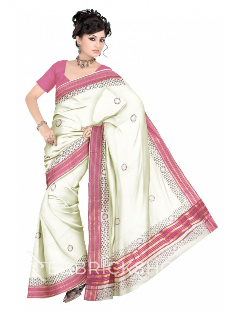 KASAVU BLOCK PRINT, OFF WHITE, MAGENTA PINK, MAROON, GOLD COTTON SAREE