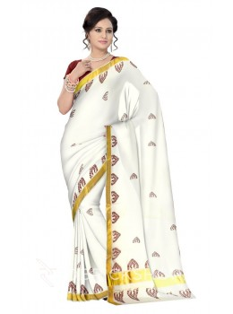 KASAVU BLOCK PRINT, OFF WHITE, MAROON, GOLD COTTON SAREE