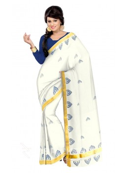KASAVU BLOCK PRINT, OFF WHITE, BLUE, GOLD COTTON SAREE
