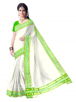 KASAVU BLOCK PRINT, OFF WHITE, LIGHT GREEN, GOLD COTTON SAREE