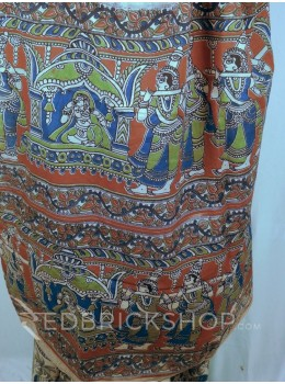 KALAMKARI ELEPHANT MAROON-INDIGO-GREEN COTTON SAREE