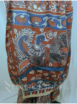 KALAMKARI PAISLEY MAROON-INDIGO-ROSE COTTON SAREE