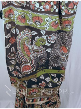 KALAMKARI PAISLEY BLACK-ROSE-GREEN COTTON SAREE