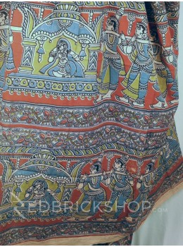 KALAMKARI LEAF MAROON-BLUE-GREEN COTTON SAREE