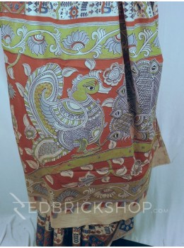 KALAMKARI WARLI CREAM-RED-BLUE COTTON SAREE