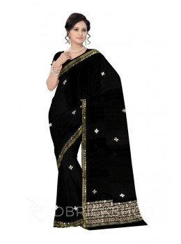 GOTA PATTI SINGLE FLOWER BLACK KOTA COTTON SAREE