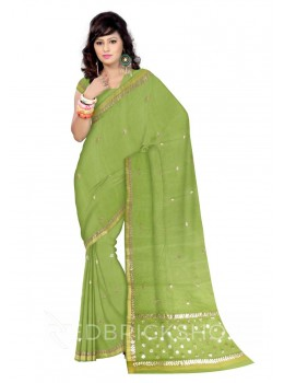 GOTA PATTI SMALL FLOWER LIGHT GREEN KOTA COTTON SAREE