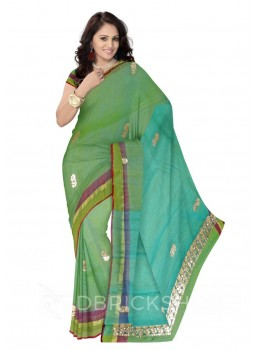 GOTA PATTI DHOOP CHHAON SINGLE FLOWER GREEN, BLUE KOTA COTTON SAREE