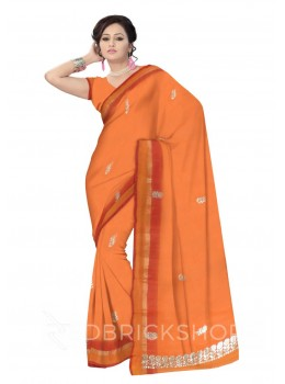 GOTA PATTI DHOOP CHHAON SINGLE FLOWER ORANGE, YELLOW KOTA COTTON SAREE