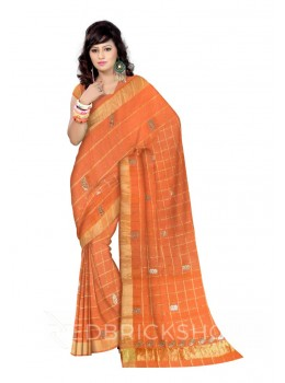 GOTA PATTI CHECKS FLOWER ORANGE KOTA COTTON SAREE