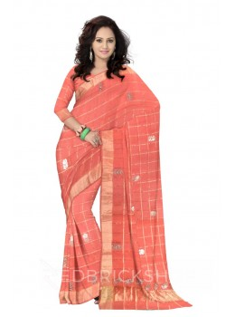 GOTA PATTI CHECKS FLOWER PINK KOTA COTTON SAREE