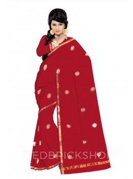 GOTA PATTI BIG FLOWER RED KOTA COTTON SAREE