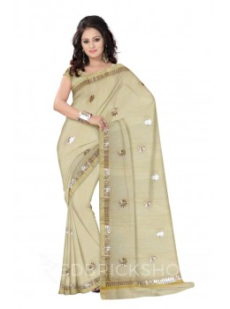 GOTA PATTI BIG FLOWER CREAM KOTA COTTON SAREE