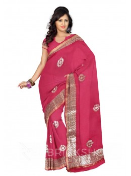 GOTA PATTI WREATH MAGENTA, PINK KOTA COTTON SAREE