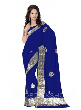 GOTA PATTI WREATH BLUE KOTA COTTON SAREE