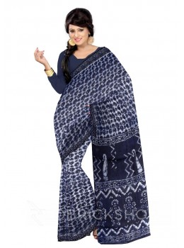 LEAF PRINT INDIGO, WHITE COTTON KOTA SAREE
