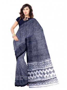 STRIPES PRINT INDIGO, WHITE COTTON KOTA SAREE