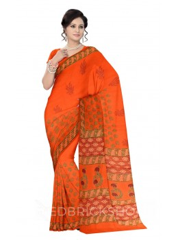 SHRUB BUD PRINT SAFFRON, ORANGE, MAGENTA, GREEN COTTON KOTA SAREE