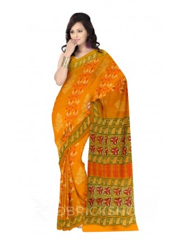 SHRUB DIAGONAL LINE PRINT YELLOW, MAGENTA, WHITE, GREEN COTTON KOTA SAREE