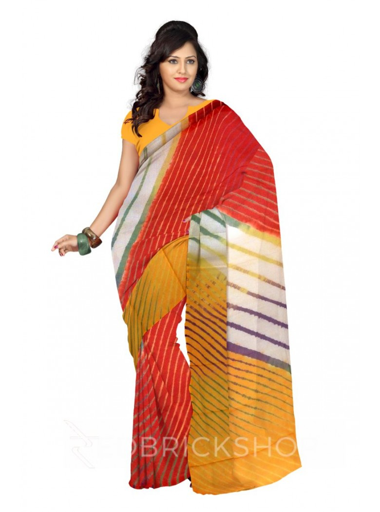 LEHERIYA RED, PURPLE, YELLOW, GREEN, WHITE COTTON KOTA SAREE