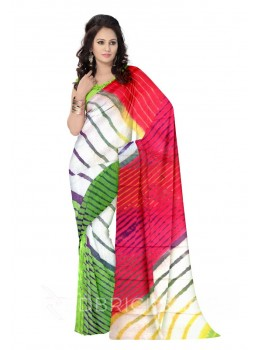 LEHERIYA GREEN, PINK, YELLOW, PURPLE, WHITE COTTON KOTA SAREE