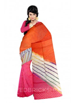 LEHERIYA ORANGE, YELLOW, PINK, PURPLE, GREEN, WHITE COTTON KOTA SAREE