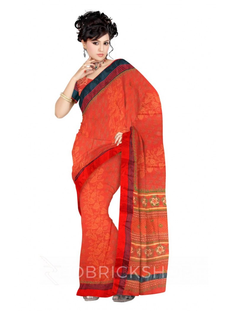 DIAGONAL VINE SMALL LEAF PRINT TOMATO RED, YELLOW, GREEN COTTON KOTA SAREE