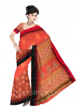FLORAL FAN PRINT TOMATO RED, GREEN, YELLOW, PINK COTTON KOTA SAREE
