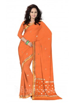 GOTA PATTI SMALL FLOWER ORANGE KOTA COTTON SAREE