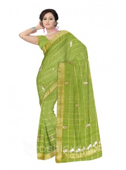 GOTA PATTI CHECKS FLOWER GREEN KOTA COTTON SAREE