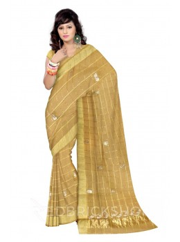 GOTA PATTI CHECKS FLOWER BEIGE KOTA COTTON SAREE