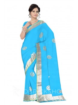 GOTA PATTI WREATH TURQUOISE, BLUE KOTA COTTON SAREE