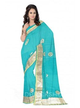 GOTA PATTI WREATH AQUAMARINE, GREEN KOTA COTTON SAREE