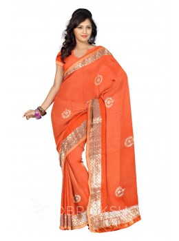 GOTA PATTI WREATH ORANGE KOTA COTTON SAREE