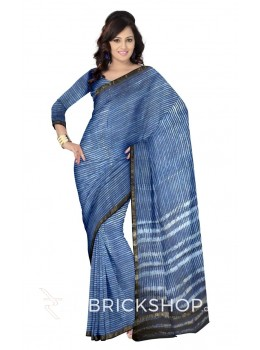 STRIPES INDIGO BLUE WHITE SILK KOTA SAREE