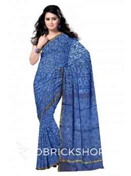 PAISLEY LEAF INDIGO BLUE WHITE SILK KOTA SAREE