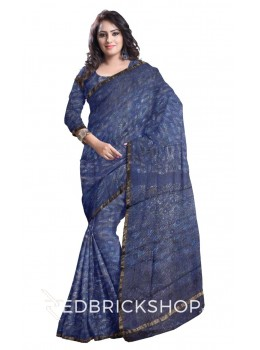 PAISLEY LEAF INDIGO BLUE BROWN OFF WHITE SILK KOTA SAREE