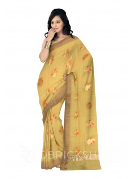 FLORAL EMBROIDERY GOLD BORDER YELLOW KOTA SILK SAREE