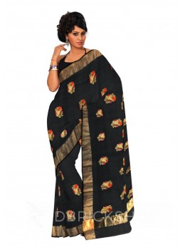 FLORAL EMBROIDERY GOLD BORDER BLACK KOTA SILK SAREE