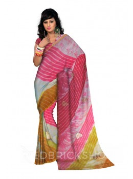 PITTAN PAISLEY LEHERIYA YELLOW, ORANGE, FUCHSIA, PINK, GOLD, WHITE KOTA SILK SAREE