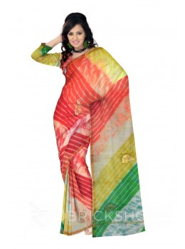 PITTAN PAISLEY LEHERIYA GREEN, RED, ORANGE, YELLOW, GOLD, WHITE KOTA SILK SAREE