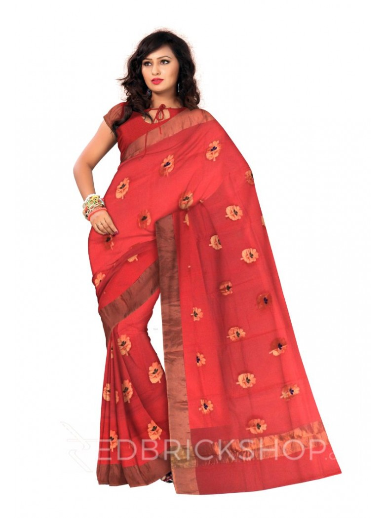 SINGLE FLOWER EMBROIDERY GOLD BORDER RED KOTA SILK SAREE