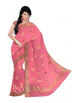 SINGLE FLOWER EMBROIDERY GOLD BORDER PINK KOTA SILK SAREE