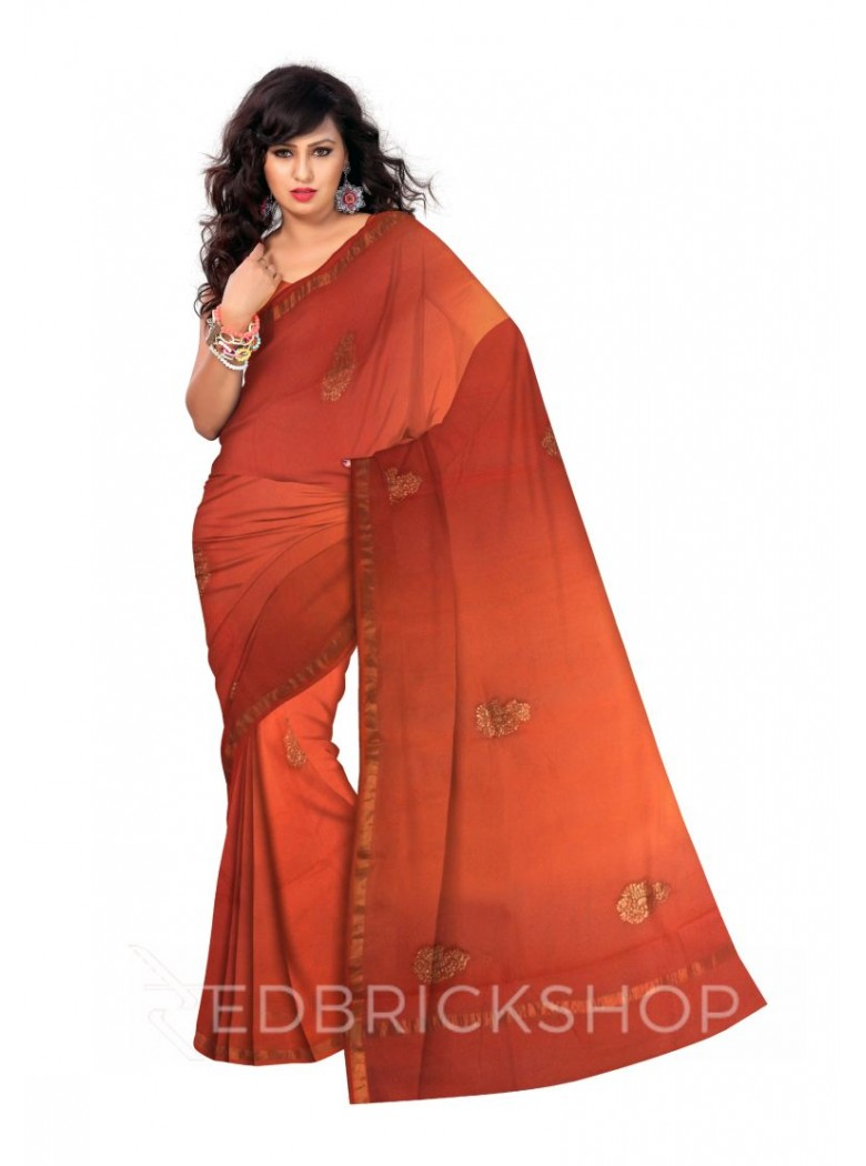 PITTAN PAISLEY GOLD BORDER OMBRE ORANGE SILK KOTA SAREE