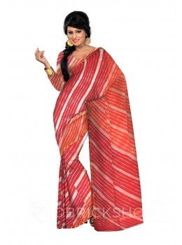 LEHERIYA RED, ORANGE, WHITE, GOLD SILK KOTA SAREE