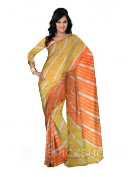 LEHERIYA YELLOW, ORANGE, WHITE, GOLD SILK KOTA SAREE