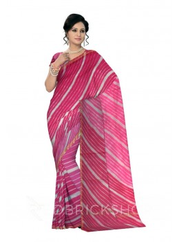 LEHERIYA FUCHSIA, PINK, WHITE, GOLD SILK KOTA SAREE