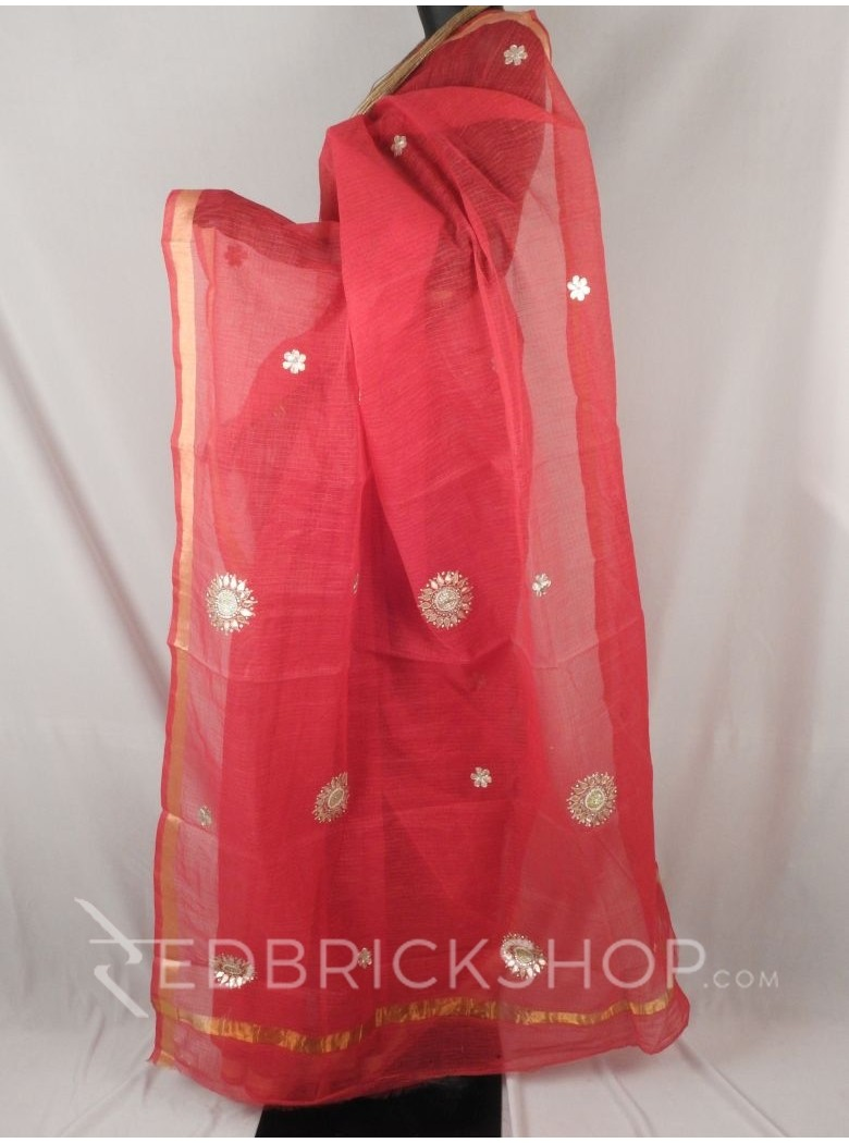 GOTA PATTI FLORAL PEARL RED COTTON KOTA SAREE